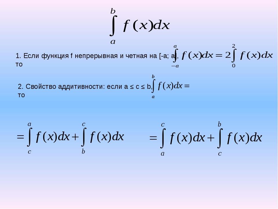 1. Если функция f непрерывная и четная на [-a; a], то 3. Если поменять знак и...