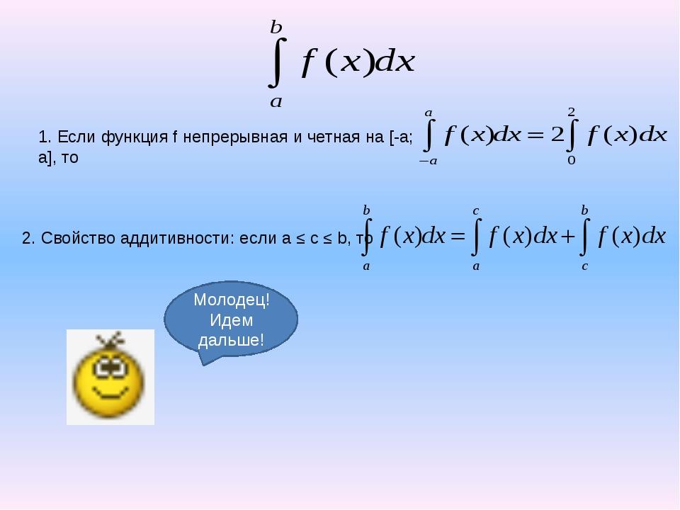 1. Если функция f непрерывная и четная на [-a; a], то 2. Свойство аддитивност...