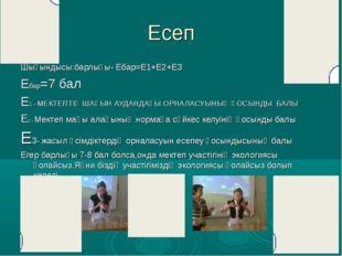 Есеп Шығындысы:барлығы- Ебар=Е1+Е2+Е3 Ебар=7 бал Е1 –МЕКТЕПТІҢ ШАҒЫН АУДАНДАҒ