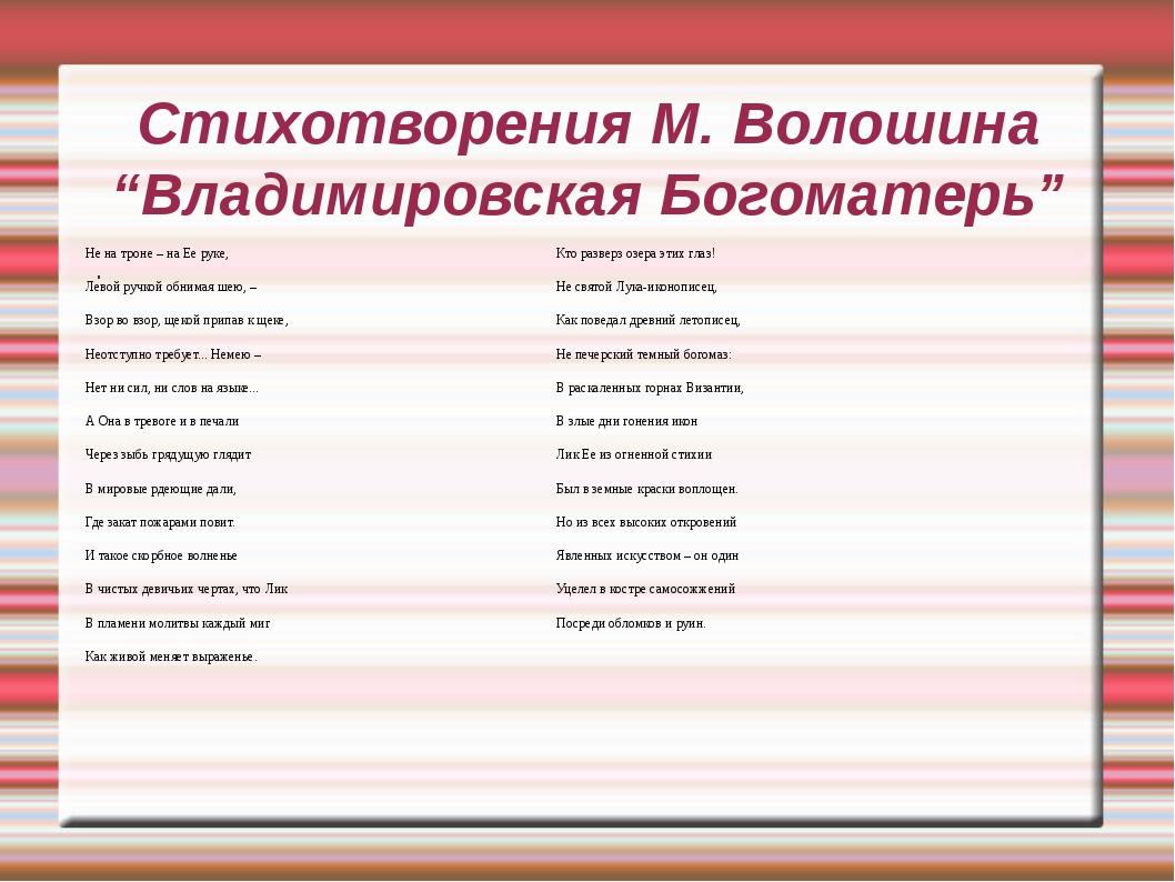 """Стихотворения М. Волошина """"Владимировская Богоматерь"""" . Не на троне – на Ее р..."""
