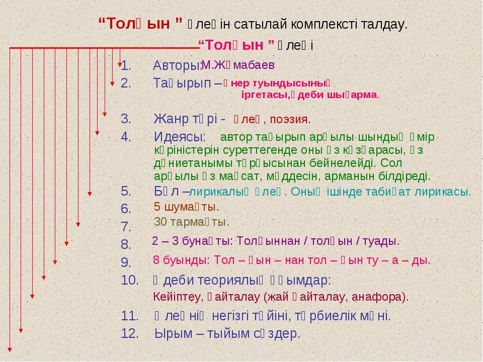 Авторы: Тақырып – 3. Жанр түрі - 4. Идеясы: 5. Бұл – 6. 7. 8. 9. Әдеби теория...