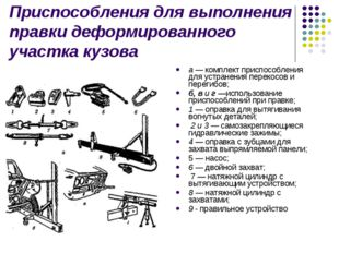 Приспособления для выполнения правки деформированного участка кузова а —комп