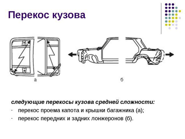 Перекос кузова следующие перекосы кузова средней сложности: перекос проема ка...