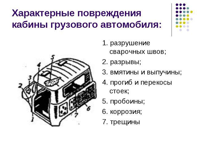 Характерные повреждения кабины грузового автомобиля: 1. разрушение сварочных...