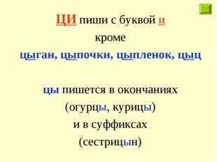 ЦИ пиши с буквой и кроме цыган, цыпочки, цыпленок, цыц цы пишется в окончания