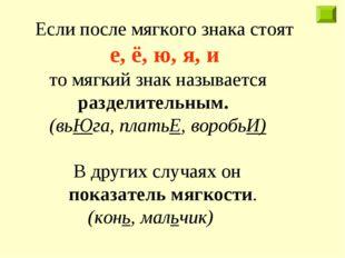 Если после мягкого знака стоят е, ë, ю, я, и то мягкий знак называется раздел
