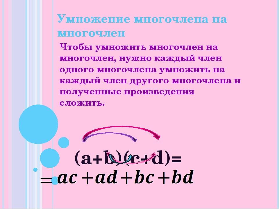 Умножение многочлена на многочлен Чтобы умножить многочлен на многочлен, нужн...