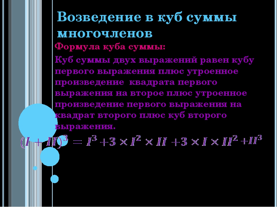 Возведение в куб суммы многочленов Формула куба суммы: Куб суммы двух выражен...
