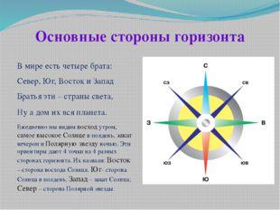 Основные стороны горизонта В мире есть четыре брата: Север, Юг, Восток и За