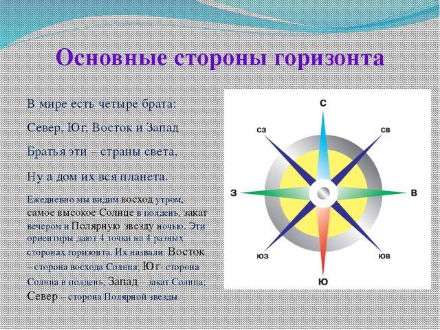 Основные стороны горизонта В мире есть четыре брата: Север, Юг, Восток и За...