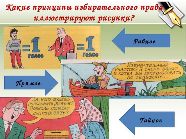 Какие принципы избирательного права иллюстрируют рисунки? Равное Прямое Тайное