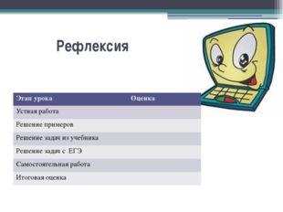 Рефлексия  Этап урока Оценка Устная работа Решение примеров Решение задач и