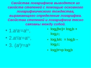 Свойства логарифмов выводятся из свойств степеней с помощью основного логариф