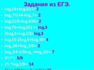 Задания из ЕГЭ. log814+log832/7=2 log127/144-log127=-2 log721/5-log73/35=2 lo