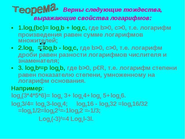 Верны следующие тождества, выражающие свойства логарифмов: 1.loga(bc)= logab...