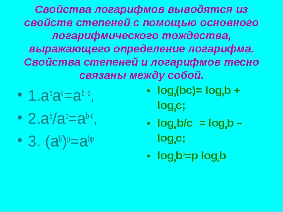 Свойства логарифмов выводятся из свойств степеней с помощью основного логариф...