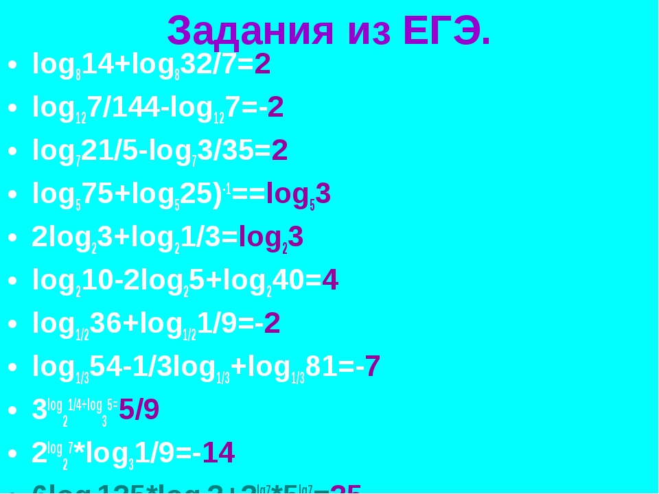 Задания из ЕГЭ. log814+log832/7=2 log127/144-log127=-2 log721/5-log73/35=2 lo...