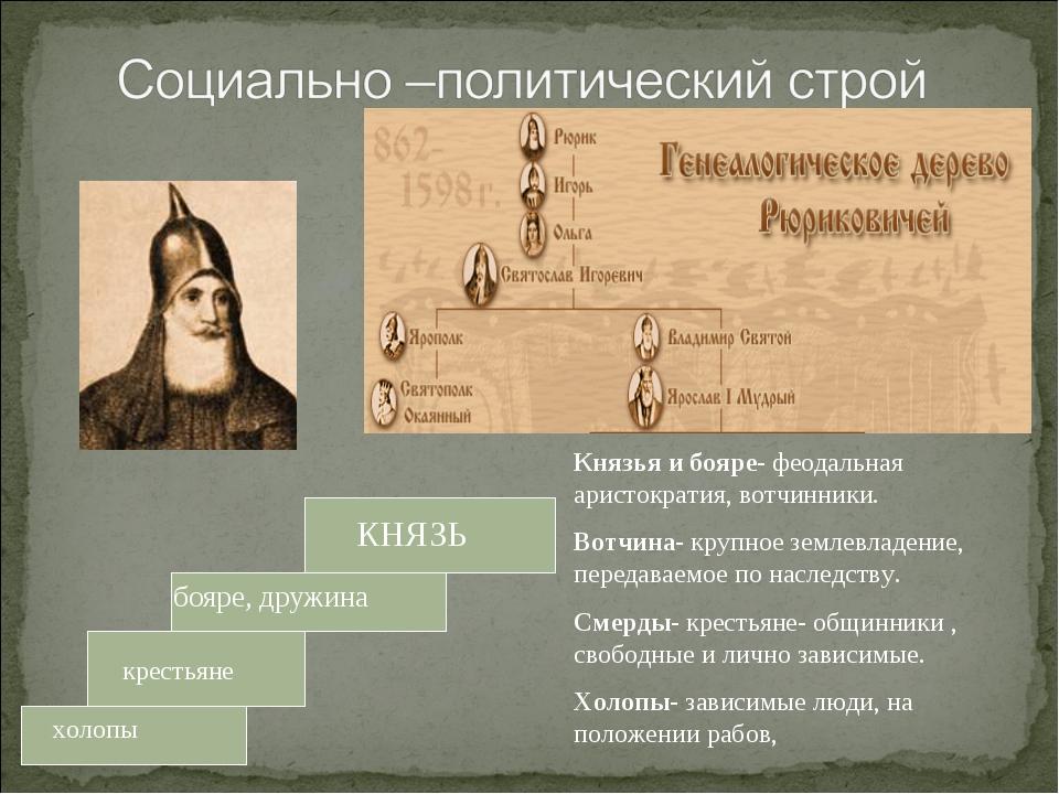 КНЯЗЬ бояре, дружина крестьяне холопы Князья и бояре- феодальная аристократия...