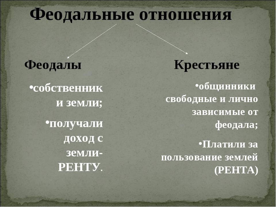 Феодальные отношения Феодалы собственники земли; получали доход с земли-РЕНТ...