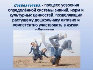 Социализация - процесс усвоения определённой системы знаний, норм и культурн