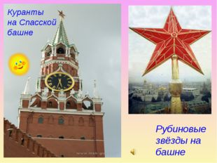 Куранты на Спасской башне Рубиновые звёзды на башне