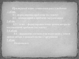 Примерный план сочинения-рассуждения 1 абзац К1- формулировка проблемы (по те