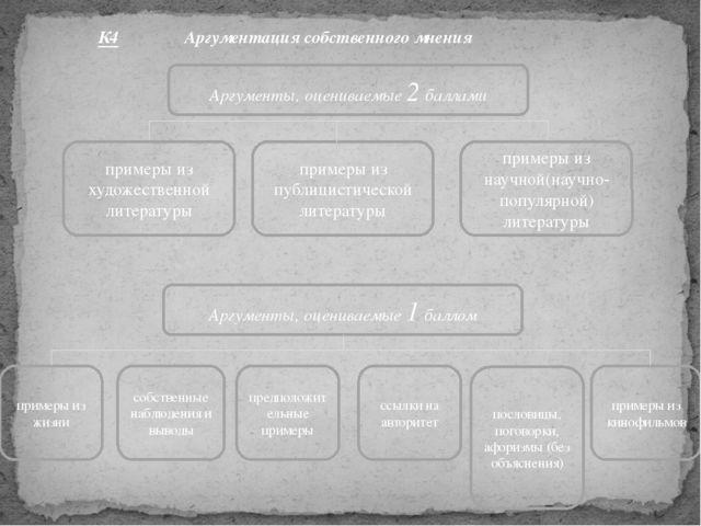К4 Аргументация собственного мнения Аргументы, оцениваемые 1 баллом примеры и...