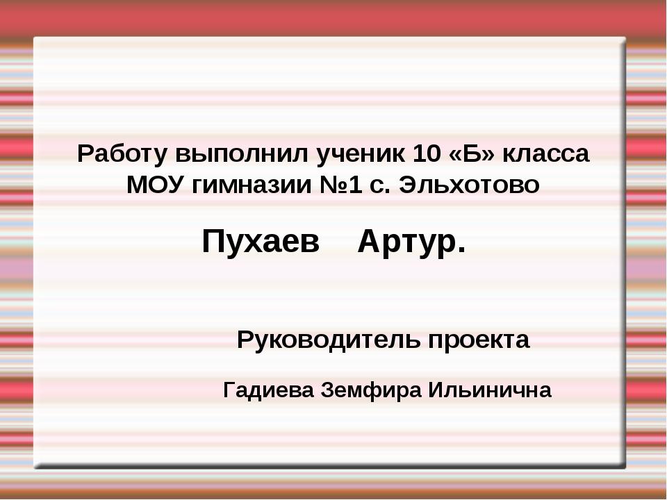 Работу выполнил ученик 10 «Б» класса МОУ гимназии №1 с. Эльхотово Пухаев Арт...