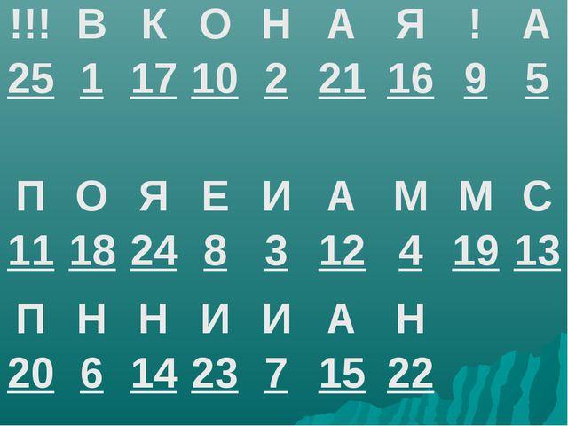 !!! 25В 1К 17О 10Н 2А 21Я 16! 9А 5 П 11О 18Я 24Е 8И 3А 12М 4М...