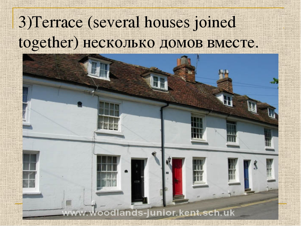 3)Terrace (several houses joined together) несколько домов вместе.