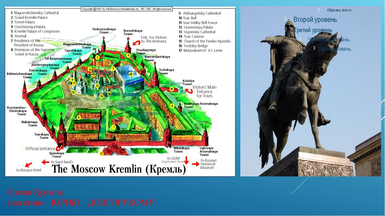 Схема Кремля памятник ЮРИЮ ДОЛГОРУКОМУ