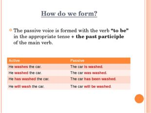 "How do we form? The passive voice is formed with the verb ""to be"" in the appr"