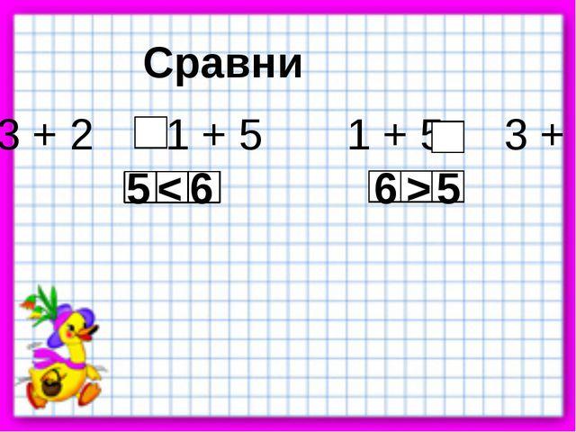 Сравни 3 + 2 1 + 5 1 + 5 3 + 2 < > 5 6 6 5