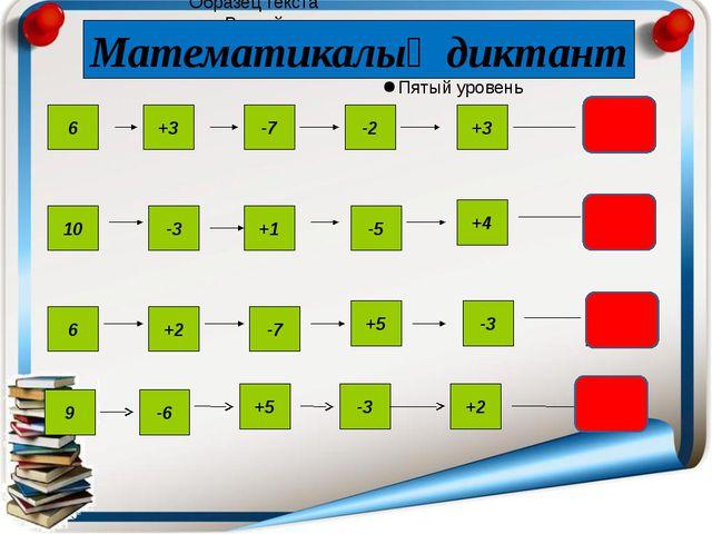3 7 3 6 +3 -7 -2 +3 10 -3 -5 +1 +4 6 +2 -7 +5 -3 Математикалық диктант 9 -3...