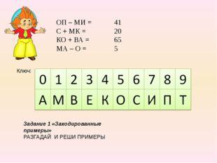 ОП – МИ = С + МК = КО + ВА = МА – О = Ключ: Задание 1 «Закодированные примеры