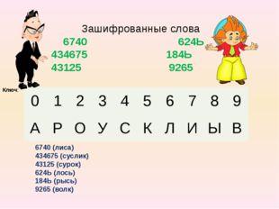 Зашифрованные слова 6740 624Ь 434675 184Ь 43125 9265 Ключ: 6740 (лиса) 43467