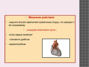 Механизм действия: -жидкость быстро переполняет кровеносные сосуды, что прив