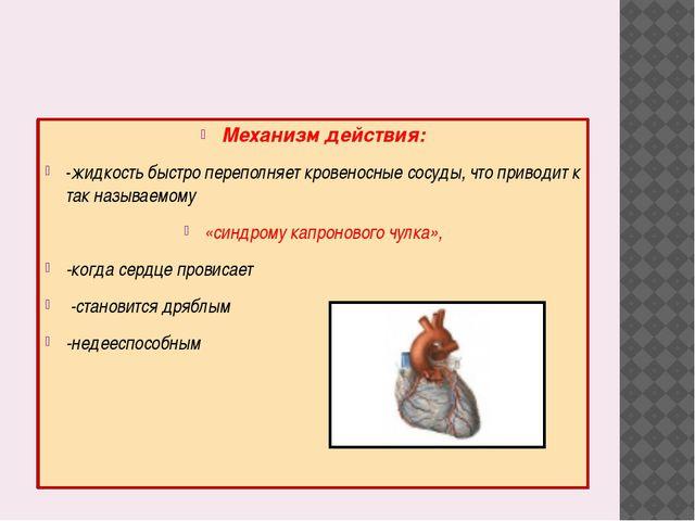 Механизм действия: -жидкость быстро переполняет кровеносные сосуды, что прив...
