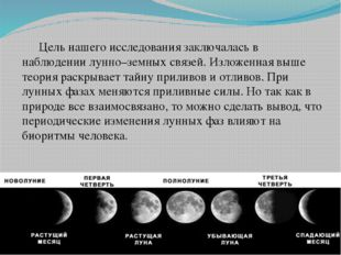 Цель нашего исследования заключалась в наблюдении лунно–земных связей. Излож