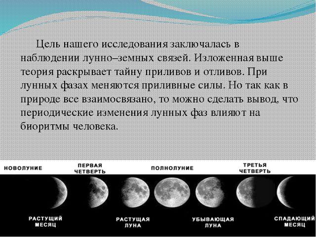 Цель нашего исследования заключалась в наблюдении лунно–земных связей. Излож...
