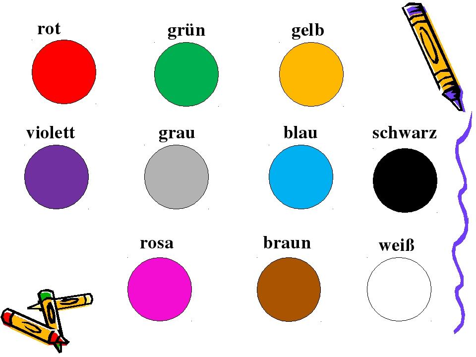 Цвета на немецком картинка