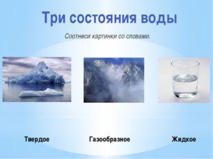 Соотнеси картинки со словами. Три состояния воды Твердое Газообразное Жидкое