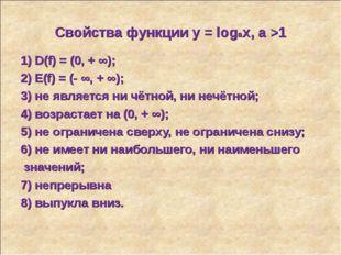 Свойства функции у = logax, a >1 1) D(f) = (0, + ∞); 2) E(f) = (- ∞, + ∞); 3)