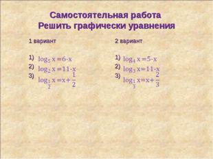 Самостоятельная работа Решить графически уравнения 1 вариант 2 вариант 1)1)