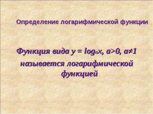 Определение логарифмической функции Функция вида y = logax, а>0, а≠1 называет