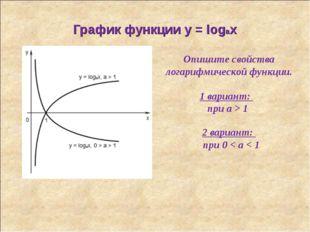 График функции y = logax Опишите свойства логарифмической функции. 1 вариант: