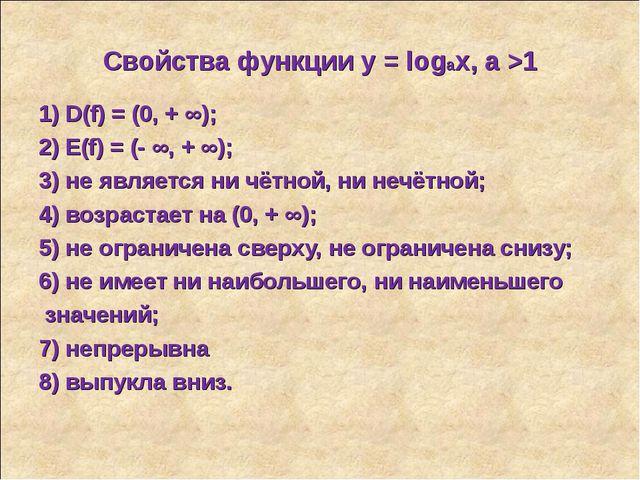 Свойства функции у = logax, a >1 1) D(f) = (0, + ∞); 2) E(f) = (- ∞, + ∞); 3)...