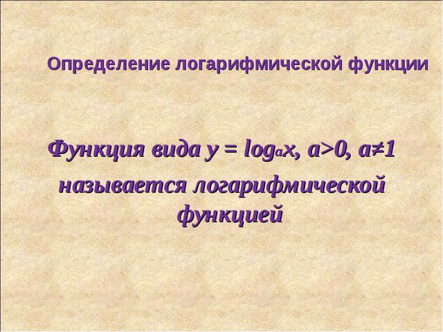 Определение логарифмической функции Функция вида y = logax, а>0, а≠1 называет...