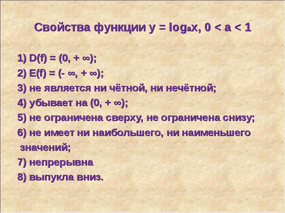 Свойства функции у = logax, 0 < a < 1 1) D(f) = (0, + ∞); 2) E(f) = (- ∞, + ∞...