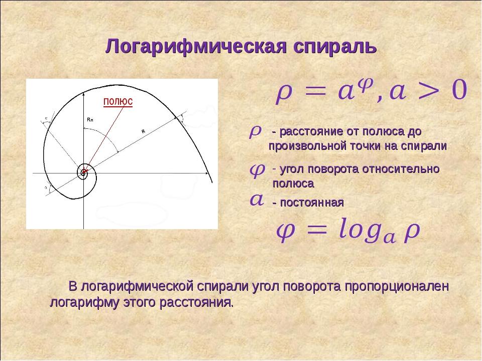 Логарифмическая спираль полюс - расстояние от полюса до произвольной точки на...